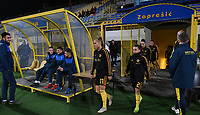 20191108 - Zapresic , BELGIUM : Belgian Janice Cayman and Davina Philtjens pictured before warming up during the female soccer game between the womensoccer teams of  Croatia and the Belgian Red Flames , the third women football game for Belgium in the qualification for the European Championship round in group H for England 2021, friday 8 th october 2019 at the NK Inter Zapresic stadium near Zagreb , Croatia .  PHOTO SPORTPIX.BE | DAVID CATRY
