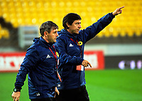 Wellington coaches Dario Pot (left) and Darije Kalezic during the A-League football match between Wellington Phoenix and Melbourne Victory at Westpac Stadium in Wellington, New Zealand on Friday, 10 January 2018. Photo: Dave Lintott / lintottphoto.co.nz