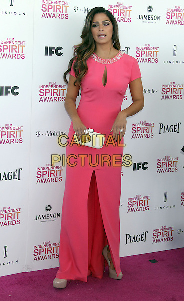 Camila Alves.2013 Film Independent Spirit Awards - Arrivals held at Santa Monica Beach..Santa Monica, California, USA,.23rd February 2013..indy indie indies indys full length beaded slit split white pink dress cut out cleavage dress maxi clutch bag .CAP/ADM/RE.©Russ Elliot/AdMedia/Capital Pictures