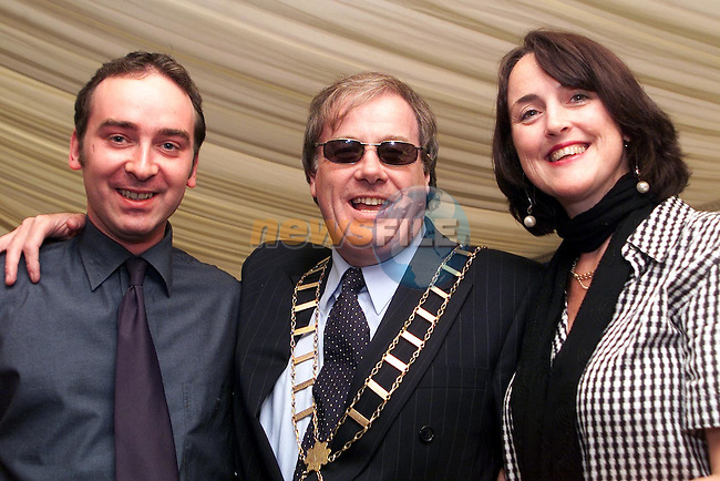 Mayor Frank Godfrey with D.I. journalists Andrew Phelan and Caroline Kavanagh at Bellewstown Races..Picture Paul Mohan Newsfile