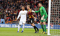 Pictured: (L-R) Wayne Routledge, Stephen Darby, Matt Duke. Sunday 24 February 2013<br /> Re: Capital One Cup football final, Swansea v Bradford at the Wembley Stadium in London.