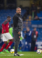Kwame Ampadu Coach of Arsenal U18 during the FA Youth Cup FINAL 1st leg match between Chelsea U18 and Arsenal U18 at Stamford Bridge, London, England on 27 April 2018. Photo by Andy Rowland.
