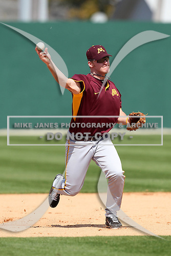Shortstop Ryan Abrahamson #19 of the Minnesota Golden Gophers during the Big East-Big Ten Challenge vs. the St. John's Red Storm at Jack Russell Memorial Stadium in Clearwater, Florida;  February 18, 2011.  St. John's defeated Minnesota 14-1.  Photo By Mike Janes/Four Seam Images
