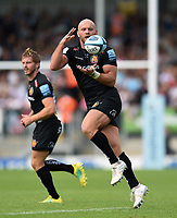Jack Yeandle of Exeter Chiefs receives the ball. Gallagher Premiership match, between Exeter Chiefs and Leicester Tigers on September 1, 2018 at Sandy Park in Exeter, England. Photo by: Patrick Khachfe / JMP