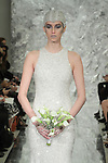 Model Caitlin Lyon walks runway in Eve, a hand embroidered micro mirror sequin high low gown, from the Theia Spring 2017 bridal collection by Don O'Neill, during New York Bridal Fashion Week Spring Summer 2017 on April 14, 2016.