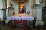 Jesus Christ painting at altar inside historic Nykirken church, city of Bergen, Norway