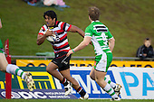 Ashee Tuala makes a run down the right wing. ITM Cup rugby game between Counties Manukau and Manawatu played at Bayer Growers Stadium on Saturday August 21st 2010..Counties Manukau won 35 - 14 after leading 14 - 7 at halftime.