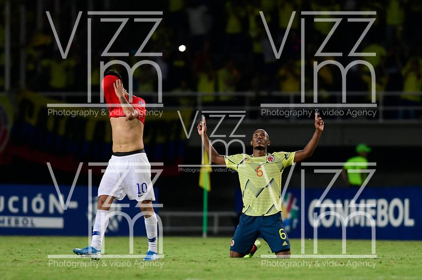 PEREIRA - COLOMBIA, 30-01-2020: Andres Balanta de Colombia celebra después del partido entre Colombia U-23 y Chile U-23 de la fecha 5, grupo A, del CONMEBOL Preolímpico Colombia 2020 jugado en el estadio Hernán Ramírez Villegas de Pereira, Colombia. / Andres Balanta of Colombia celebrates after the match between Colombia U-23 and Chile U-23 of the date 5, group A, for the CONMEBOL Pre-Olympic Tournament Colombia 2020 played at Hernan Ramirez Villegas stadium in Pereira, Colombia. Photo: VizzorImage / Cristian Alvarez / Cont