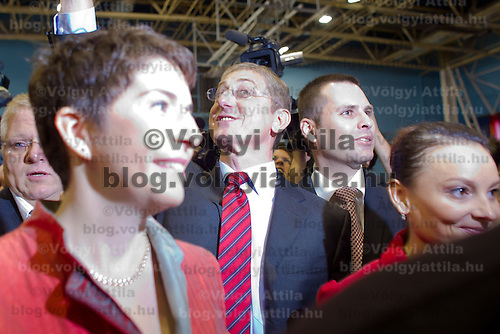 Ferenc Gyurcsany (2nd L) former prime minister of Hungary arrives with his wife Klara Dobrev (L) to the Foundation of the Democratic Coallition Party in Budapest, Hungary on October 22, 2011. ATTILA VOLGYI