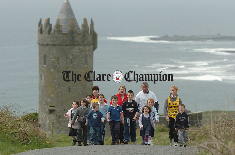 With hard copy press release.........................Some of the walkers who will take part in the second annual Michael Dunleavy Foundation charity walk make headway past Doonagore castle in Doolin.. Photograph by John Kelly.