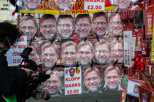 14.04.2016. Liverpool, England.  Posters with the face of Liverpool's coach Juergen Klopp are seen at a souvenir shop prior to the UEFA Europa League quarter finals  match between Liverpool FC and Borussia Dortmund at the Anfield stadium in Liverpool, north west Britain 14 April 2016.