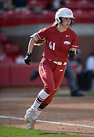 NWA Democrat-Gazette/ANDY SHUPE<br /> Arkansas designated hitter Danielle Gibson heads to first against Wichita State Wednesday, April 10, 2019, during the fourth inning at Bogle Park in Fayetteville. Visit nwadg.com/photos to see more photographs from the game.
