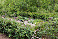 Raised Bed Vegetable & Herbs Garden Fenced Gate, stone pebble walkway, protection from pest animals, fruit trees, roses flowers