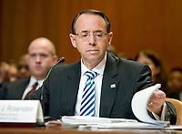"Rod J. Rosenstein, Deputy Attorney General, United States Department of Justice, looks over his notes as he gives testimony before the US Senate Committee on Appropriations ""to review the Presidentís Fiscal Year 2018 funding request and budget justification for the U.S. Department of Justice"" on Capitol Hill in Washington, DC on Tuesday, June 13, 2017. Photo Credit: Ron Sachs/CNP/AdMedia"
