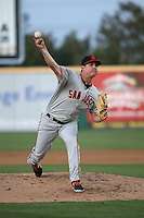 Martin Agosta (28) of the San Jose Giants pitches against the Rancho Cucamonga Quakes at LoanMart Field on May 23, 2016 in Rancho Cucamonga, California. San Jose defeated Rancho Cucamonga, 4-2. (Larry Goren/Four Seam Images)