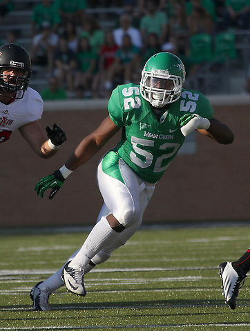 Denton, TX - NOVEMBER 3: Derek Akunne #52 of the North Texas Mean Green in action against the Arkansas State Red Wolves at Apogee Stadium in Denton on November 3, 2012 in Denton, Texas. Photo by: Rick Yeatts