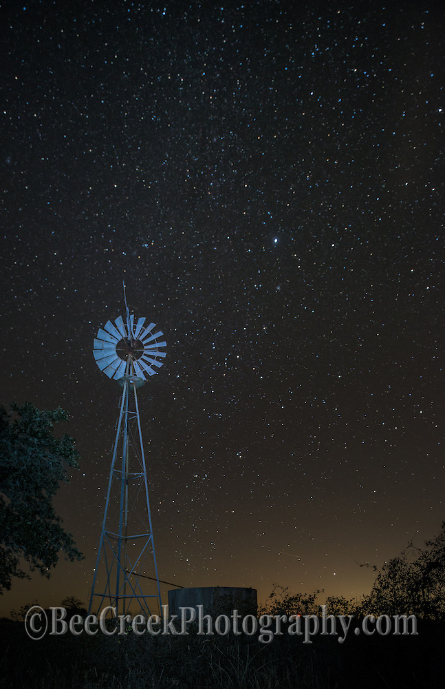 Windmill with night stars