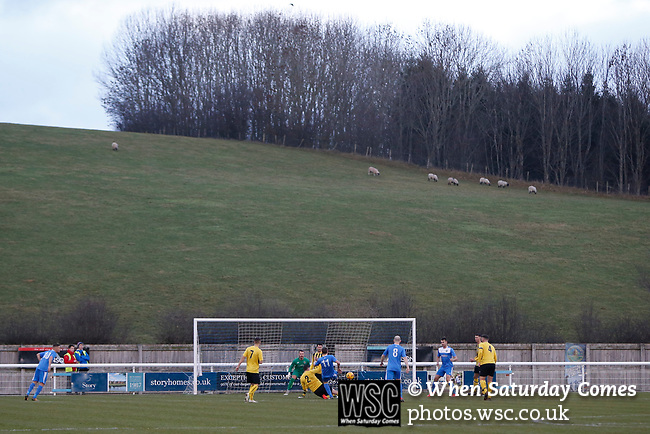 Goal scored by Penrith's Will Paul, 1-0. Penrith AFC V Hebburn Town, Northern League Division One, 22nd December 2018. Penrith are the only Cumbrian team in the Northern League. All the other teams are based across the Pennines in the north east.<br /> Penrith, winless at kick off, lost a thriller 3-4, in front of 100 people. They won five games all season, but were reprieved from relegation following Blyth's resignation from the league.