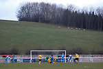 Goal scored by Penrith's Will Paul, 1-0. Penrith AFC V Hebburn Town, Northern League Division One, 22nd December 2018. Penrith are the only Cumbrian team in the Northern League. All the other teams are based across the Pennines in the north east.<br />