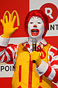 Ronald McDonald speaks during a news conference organized by McDonald's Japan and Rakuten, Inc. on May 26, 2017, Tokyo, Japan. Rakuten and McDonald's have cemented their business relationship by launching an original point card which can be used at all of the 2,900 McDonald's stores in Japan. (Photo by Rodrigo Reyes Marin/AFLO)