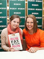 *** NO FEE PIC***.20/04/2012.Author Ruth Field signing copies of Run Fat B!tch Run for Rose Keehan originally from San Francisco but living in Blackrock at Eason OConnell Street, Dublin..Photo: Gareth Chaney Collins