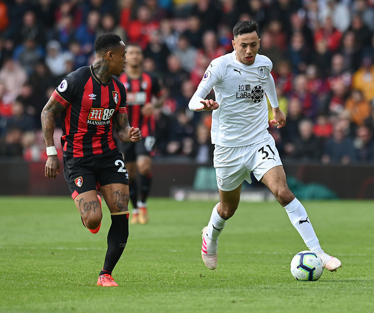 Burnley's Dwight McNeil (right) under pressure from Bournemouth's Nathaniel Clyne (left) <br /> <br /> Photographer David Horton/CameraSport<br /> <br /> The Premier League - Bournemouth v Burnley - Saturday 6th April 2019 - Vitality Stadium - Bournemouth<br /> <br /> World Copyright © 2019 CameraSport. All rights reserved. 43 Linden Ave. Countesthorpe. Leicester. England. LE8 5PG - Tel: +44 (0) 116 277 4147 - admin@camerasport.com - www.camerasport.com