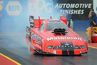 Jan 23, 2009; Chandler, AZ, USA; NHRA funny car driver Bob Tasca III does a burnout during testing at the National Time Trials at Firebird International Raceway. Mandatory Credit: Mark J. Rebilas-