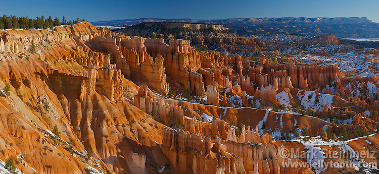 Panorama of the hoodoos of Bryce Amphitheater, Bryce Canyon National Park, Utah. Hoodoos are pinnacles or odd-shaped rock left standing by the forces of erosion. Technically not a canyon, most of the erosion at Bryce comes from the freezing and thawing of water, a prevalent occurence due to its high elevation of approximately 7,000 to 9,000 feet (2,133 - 2,743 m). In addition to ice, wind and water erosion also play a role.