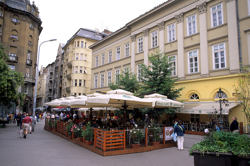 Restaurant scene in downtown Budapest Hungary