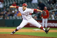 Arkansas Razorbacks relief pitcher Doug Willey (14) delivers a pitch to the plate against the Houston Cougars at Minute Maid Park on February 27, 2016 in Houston, Texas.  The Razorbacks defeated the Cougars 12-3.  (Brian Westerholt/Four Seam Images)