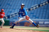 Toronto Blue Jays pitcher Jose Espada (6) during an Instructional League game against the Philadelphia Phillies on September 17, 2019 at Spectrum Field in Clearwater, Florida.  (Mike Janes/Four Seam Images)