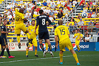 24 OCTOBER 2010:  Columbus Crew forward Emilio Renteria (20) heads the ball during MLS soccer game against the Philadelphia Union at Crew Stadium in Columbus, Ohio on August 28, 2010.