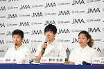 (L-R) Rei Sugimoto, Kokoro Fujii, Miho Nonaka, <br /> AUGUST 3, 2016 - Sports Climbing :<br /> Japan Mountaineering Association holds a press conference<br /> after it was decided that the sport of <br /> Sports Climbing would be added to the Tokyo 2020 Summer Olympic Games<br /> on August 3rd, 2016 in Tokyo, Japan.<br /> (Photo by AFLO SPORT)
