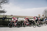 Christophe Laporte (FRA/Cofidis)  over the 'plugstreet Christmas Truce' gravel section. <br /> <br /> 81st Gent-Wevelgem in Flanders Fields (1.UWT)<br /> Deinze &gt; Wevelgem (251km)
