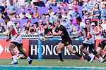 Sebastian Fromm of Germany (C) passes the ball during the HSBC World Rugby Sevens Series Qualifier Final match between Germany and Japan as part of the HSBC Hong Kong Sevens 2018 on 08 April 2018 in Hong Kong, Hong Kong. Photo by Marcio Rodrigo Machado / Power Sport Images