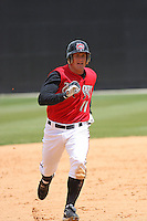 Chris Heisey of the Carolina Mudcats running the bases against  the Huntsville Stars on April 22, 2009 at Five County Stadium in Zebulon, NC.
