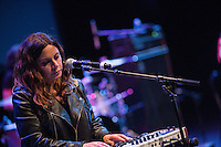 Ceci Bastida plays the keyboard during supergroup, Mexrrissey's, performance at the Perelman Theater in Philadelphia on October 30, 2016.