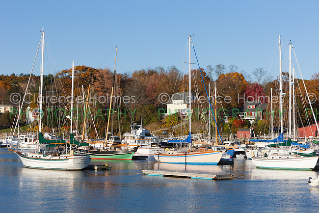 Sailboats anchored in Camden Harbor, Camden, Maine