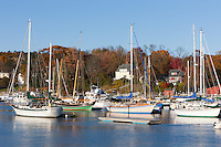 Sailboats anchored in Camden Harbor, Camden, Maine