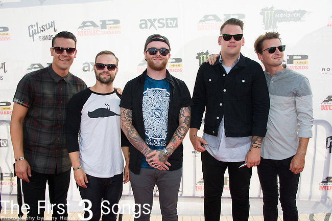 Caleb Shomo, Taylor Lumley, Brandon Mullinsm Kamron Bradbury, and Oshie Bichar of Beartooth attends the 2014 AP Music Awards at the Rock And Roll Hall Of Fame and Museum at North Coast Harbor in Cleveland, Ohio.