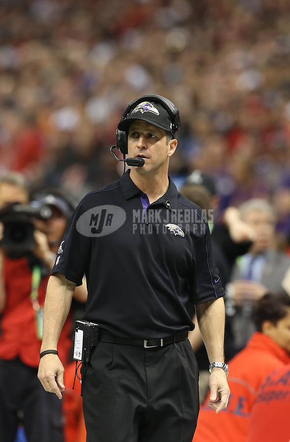 Feb 3, 2013; New Orleans, LA, USA; Baltimore Ravens head coach John Harbaugh during Super Bowl XLVII against the San Francisco 49ers at the Mercedes-Benz Superdome. Mandatory Credit: Mark J. Rebilas-
