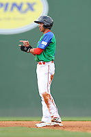 Shortstop Mauricio Dubon (10) of the Greenville Drive gestures as he is safe at second with a stolen base in a game against the Augusta GreenJackets on Sunday, April 12, 2015, at Fluor Field at the West End in Greenville, South Carolina. Augusta won, 2-1. (Tom Priddy/Four Seam Images)