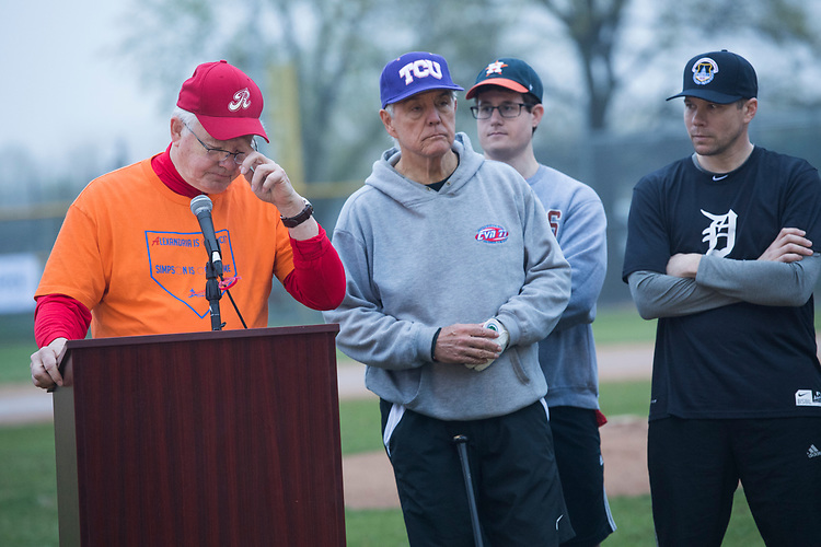 UNITED STATES - APRIL 25: Reps. Joe Barton, R-Texas, left, and Roger Williams, R-Texas, center, conduct a news conference with members of the Republican baseball team after the first practice of the year Eugene Simpson Stadium Park in Alexandria, Va., on April 25, 2018. Williams' aide Zack Barth, second from right, and Matt Mika, right, were injured by gunfire in last year's shooting at a team practice. (Photo By Tom Williams/CQ Roll Call)
