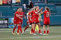 Rochester, NY - Friday June 17, 2016: Portland Thorns FC players Nadia Nadim (9), Tobin Heath (17), Christine Sinclair (12), Lindsey Horan (7), Amandine Henry (28) during a regular season National Women's Soccer League (NWSL) match between the Western New York Flash and the Portland Thorns FC at Rochester Rhinos Stadium.