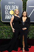 Reese Witherspoon, nominated for BEST PERFORMANCE BY AN ACTRESS IN A LIMITED SERIES OR A MOTION PICTURE MADE FOR TELEVISION for her role in &quot;Big Little Lies,&quot; and Eva Longoria arrive at the 75th Annual Golden Globe Awards at the Beverly Hilton in Beverly Hills, CA on Sunday, January 7, 2018.<br /> *Editorial Use Only*<br /> CAP/PLF/HFPA<br /> &copy;HFPA/PLF/Capital Pictures