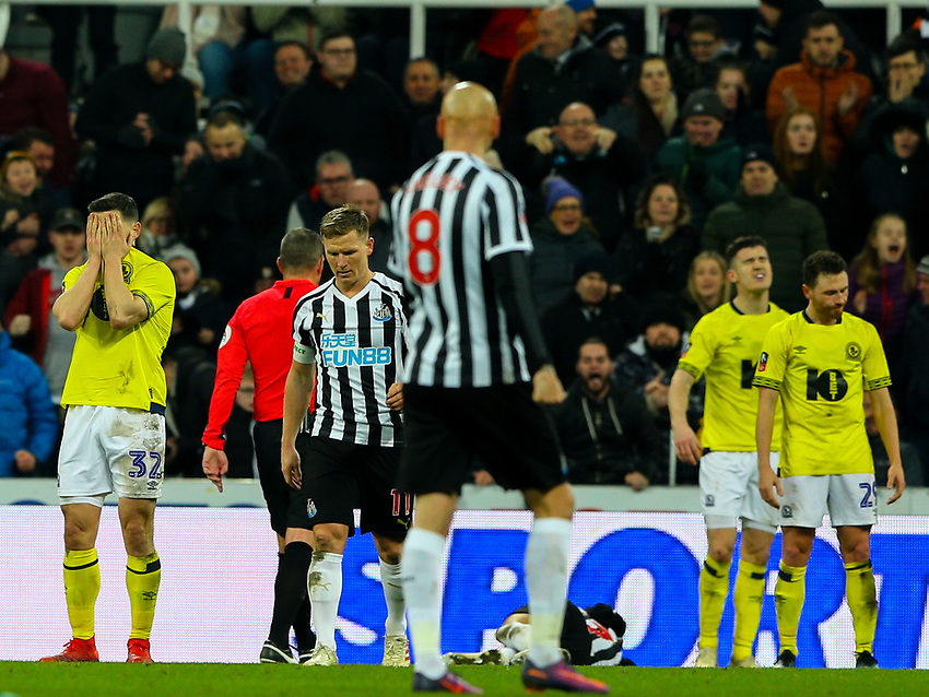 Blackburn Rovers' Craig Conway reacts after referee Kevin Friend awarded Newcastle United a penalty <br /> <br /> Photographer Alex Dodd/CameraSport<br /> <br /> Emirates FA Cup Third Round - Newcastle United v Blackburn Rovers - Saturday 5th January 2019 - St James' Park - Newcastle<br />  <br /> World Copyright © 2019 CameraSport. All rights reserved. 43 Linden Ave. Countesthorpe. Leicester. England. LE8 5PG - Tel: +44 (0) 116 277 4147 - admin@camerasport.com - www.camerasport.com