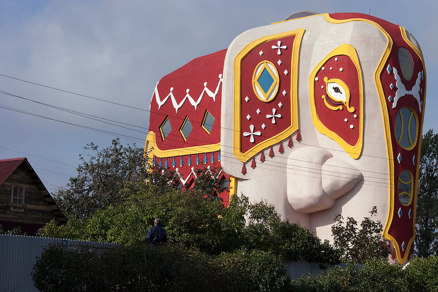 Oktyabr'skiy, Russia, 19/09/2010..A new house built in the shape of an elephant in the Moscow suburbs. The house is on the market priced at $5 million USD, and comes complete with a small private hotel in its grounds.