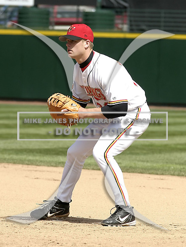 April 10, 2004:  First baseman Justin Morneau (33) of the Rochester Red Wings, Triple-A International League affiliate of the Minnesota Twins, during a game at Frontier Field in Rochester, NY.  Photo by:  Mike Janes/Four Seam Images