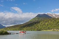 Float plane on lake, Moose Pass, Kenai Peninsula, southcentral Alaska.