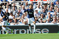 Dele Alli of Tottenham Hotspur celebrates scoring the opening goal of the game during Newcastle United vs Tottenham Hotspur, Premier League Football at St. James' Park on 13th August 2017